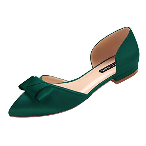ERIJUNOR E0081A Comfortable Low Heel Wedding Shoes with Bow Knot D'Orsay Pointy Toe Flats Green Size 9]()