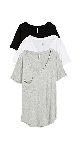 Z SUPPLY Women's Sleek Jersey Pocket Tee 3 Pack, Black/White/Grey, Large