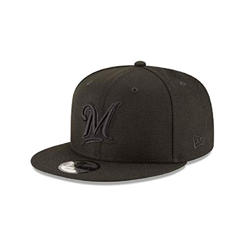 (New Era Milwaukee Brewers MLB Basic Snapback Black on Black Adjustable 950 Cap)
