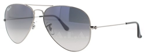 New Ray Ban RB3025 004/78 Aviator Gunmetal/Crystal Blue Gradient Gray Lens 58mm Polarized - Blue Ray Gradient Ban Gray