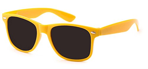 WebDeals - Sunglasses Classic 80s Style Assorted Color Frames and Lenses (Neon Yellow, Smoke)