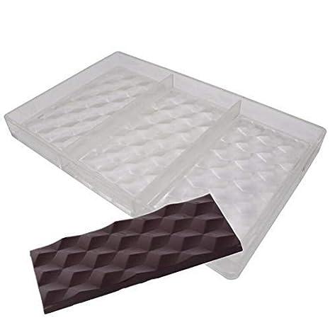 Molde de 3 agujeros para barras de chocolate de policarbonato 3D, molde transparente, molde