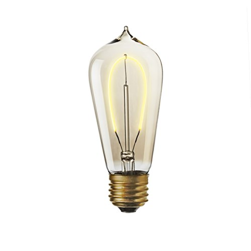 (LED ST18 Teardrop Vintage Bulb Hairpin Filament Fully Dimmable 3W Edison Style Warm White E26 Standard Base, Brooklyn Bulb Co. Flatbush Design)