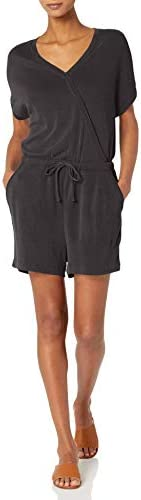 Amazon Brand – Daily Ritual Women's Lightweight Sandwashed Modal Blend Short-Sleeve Overlap Romper