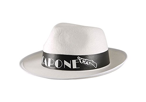 MA ONLINE Mens Al Capone White Gangster Trilby Hat Womens Fancy Dress Costume Accessory]()