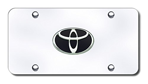 Toyota Logo Black//Chrome on Chrome Plate Au-Tomotive Gold INC