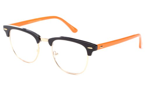 Newbee Fashion - Clubmaster Oval Stylish Retro Vintage Semi-Rimless Floral Classic Half Frame Clear Glasses Frames Black/Gold/Orange