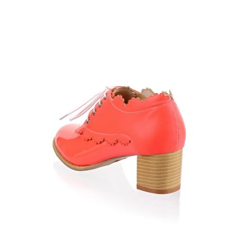 Mid 5 Pumps Rosered 4 M Women's Patent Bandage Solid PU US Heel Closed Toe whith WeenFashion B Leather Round IqfZZ