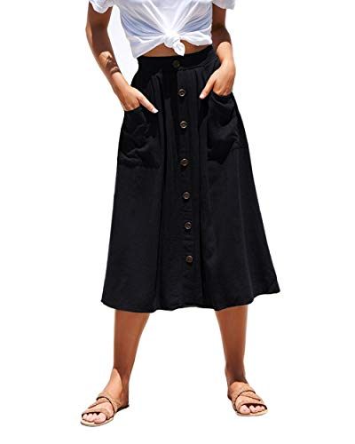 Azue Womens A Line Midi Skirt Elastic Waist Front Button Casual Pleated Skirt with Pockets Black Large (fits Like US 10-12)