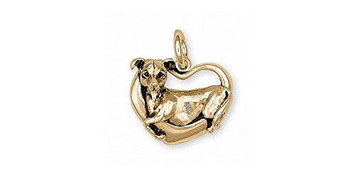 (Italian Greyhound Charm Jewelry 14k Gold Handmade Dog Charm IG5-CG )