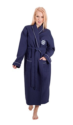 Classic Turkish Towels Luxury Waffle Weave Bathrobe - Kimono Lightweight Spa and Hotel Robe 100% Turkish Cotton (Small/Medium, Sailor Navy)