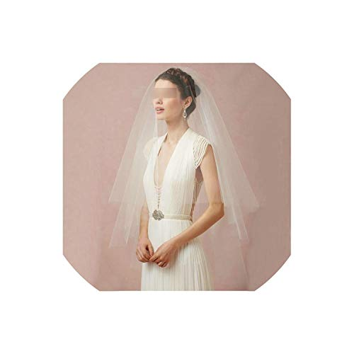 (Fashionable White Bridal Veils Two Layers 120 Cm Ivory Tulle Chic Bride Veil With Comb 2019 Cheap Wedding Accessories,Ivory,120Cm)