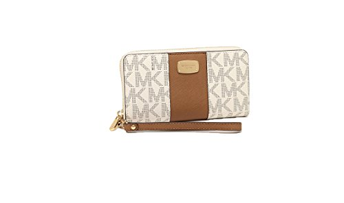 Michael Kors Jet Set Travel Center Stripe PVC Large Coin Multifunction Phone Case Wristlet