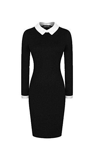 Vestido de manga larga para mujer, con cuello negro