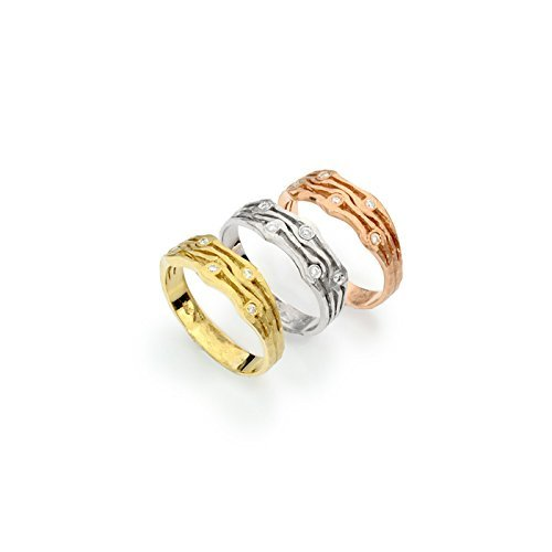 - 14k tri color gold 3 row gold band with diamonds