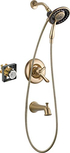 Series Bath Sink - Delta Faucet Linden 17 Series Dual-Function Tub and Shower Trim Kit with 2-Spray In2ition 2-in-1 Hand Held Shower Head with Hose, Champagne Bronze T17494-CZ-I (Valve Included)