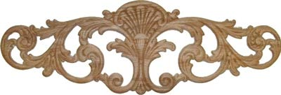 (Veneered Oak Scroll Leafs Decorative Ornament Applique - 18-1/4