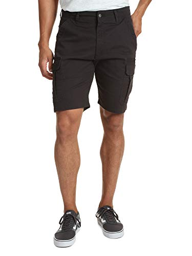 Wrangler Authentics Men's Classic Relaxed Fit Stretch Cargo Short, Black Twill, 42