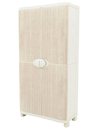 Plastiken Armario SPACE SAVER 90cm con 4 estantes metá licos con puertas imitació n madera de HAYA (90cm de ancho x 45cm de hondo x 184cm de alto)