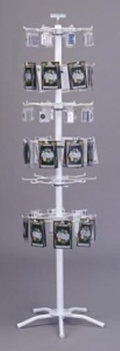 (New White 48 Peg-6 Tier Floor Spinner for Key Chains, Patches, Stickers Display)