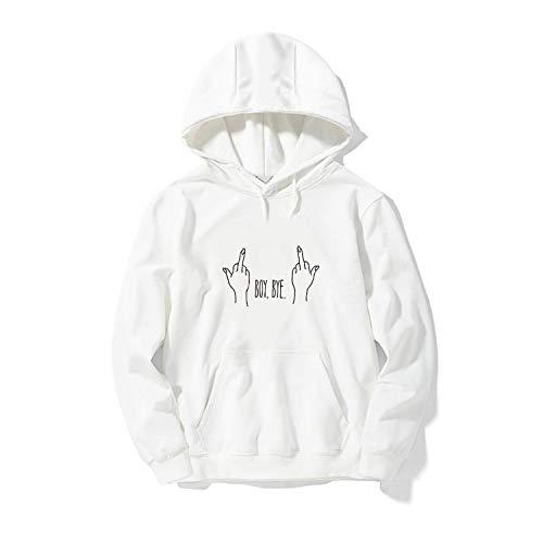 2019 Hoodies Women Hooded Sweatshirt Men Funny Tops Jacket Femme Winter Casual Coat Clothing,White,L