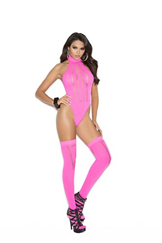 - Zabeanco Opaque and Sheer Teddy With A Thong Back and Matching Stockings included(One Size, Hot Pink)