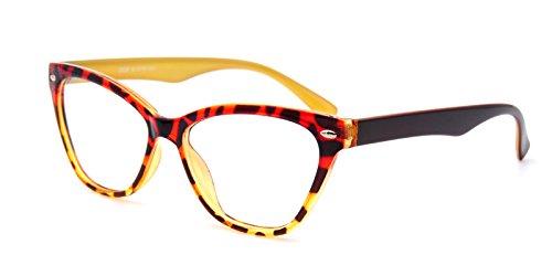 AMILLET Womens Cat Eye Eyeglass Frames Clear Lens (Tortoise Yellow, - Eyeglasses Yellow Frame