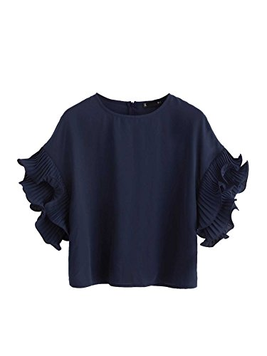 Romwe Women's Zip Back Blouse Ruffle Short Sleeve Tee Top Navy L (Zip Tee Sleeve)