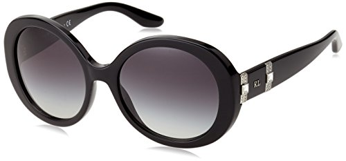 Ralph Lauren temple de Diamante ronde lunettes de soleil en noir RL8145B 50018G 53 Black Gradient Grey