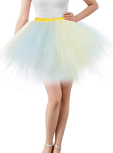 BIFINI Adult Women 80's Tutu Skirt Layered Tulle Petticoat Halloween Tutu Blue/Yellow -