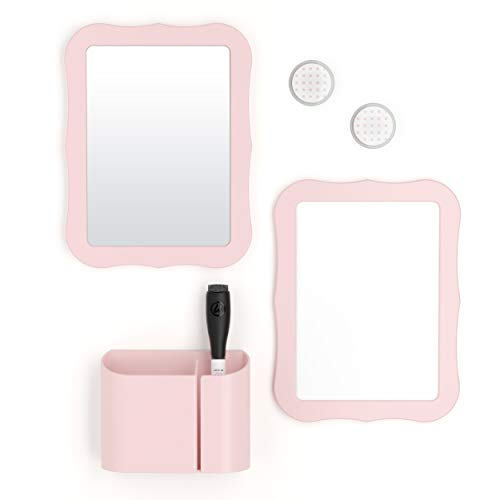 U Brands Locker Accessories Kit, Back to School Essentials, Blush, 6-Piece, Includes Whiteboard, Mirror, and Organizing Supplies (For Decoration Mirrors)