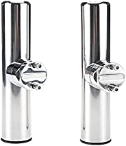 """WerkWeit [2 PCS Clamp on Rod Holder Stainless Steel Tournament Style for Rails 7/8"""" to 1"""", Boat Mari"""