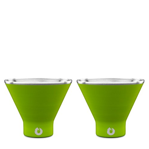 SNOWFOX Insulated Stainless Steel Stemless Martini Glass, Set of 2, Lime (Martini Green Glasses)