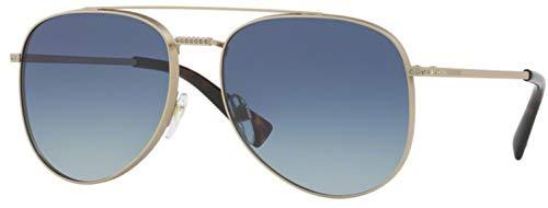 - Valentino VA 2007B 30164L Matte Sandblast Light Gold Metal Aviator Sunglasses Azure Gradient Lens