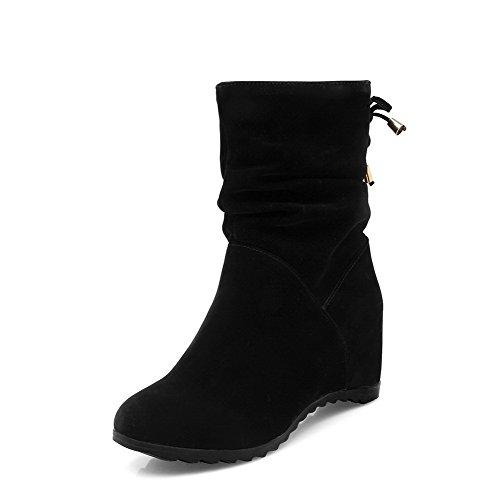 Solid Women's Kitten Lining Black Velvet AgooLar Boots Toe Round Heels g0PPA