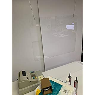 """Hanging Plexiglass Shield for Counters, 36"""" x 24.01"""" Sneeze Shields Food Screen, Transaction Window for Employers, Barrier Against Coughing & Sneezing"""