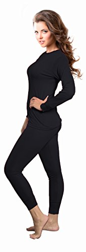 Rocky Womens Thermal 2 Pc Long John Underwear Set Top and Bottom Smooth Knit (Small, Black)