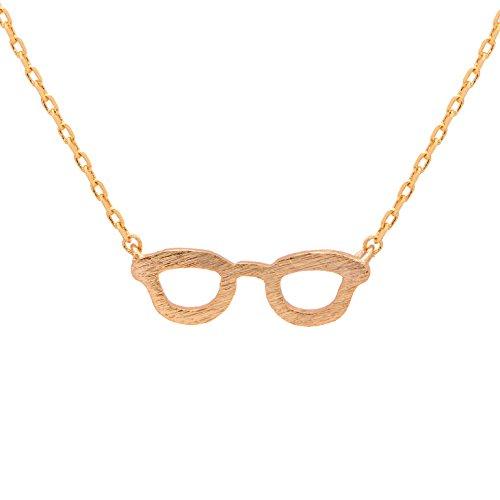 Spinningdaisy Handmade Brushed Metal Nerd Chic Glasses Necklace - Chic Glasses Nerd