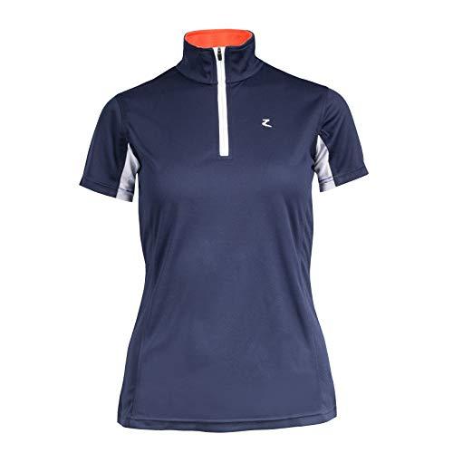 HORZE Trista Short Sleeve Technical Shirt (Peacoat Dark Blue/Grenadine Red, 8)