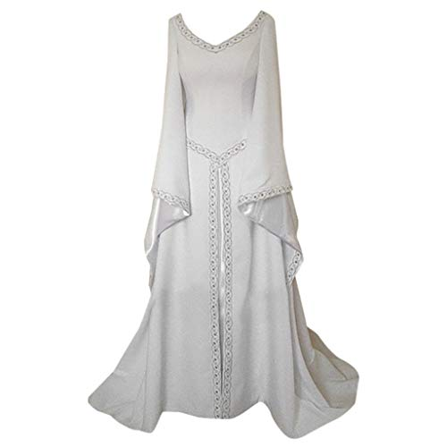 Fancy Dresses, Women Renaissance Costume Medieval Dress Lace Up Vintage Floor Length Cosplay Princess Dress (White, XL) -