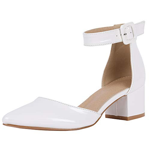 (FISACE Womens Low Mid Square Heel Ankle Strap Sandal Office Ladies Pointed Toe Pumps Shoe (8 M US, Z-White))
