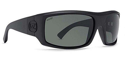 VonZipper Mens Clutch Polarized Sunglasses, Black Satin w/Wildlife Vintage Gray, One Size