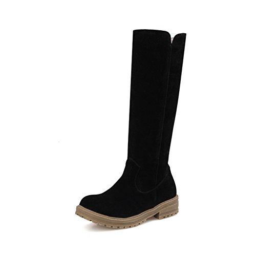 Square On Frosted AdeeSu Black Ladies Heels Boots Platform Pull HCAZwqP
