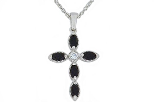 Onyx Elizabeth - Elizabeth Jewelry 1 Ct Genuine Black Onyx Cross Pendant .925 Sterling Silver Rhodium Finish
