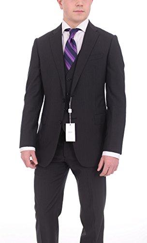 Armani Collezioni M-line Slim Fit 38r 48 Black Striped Three Piece Wool ()
