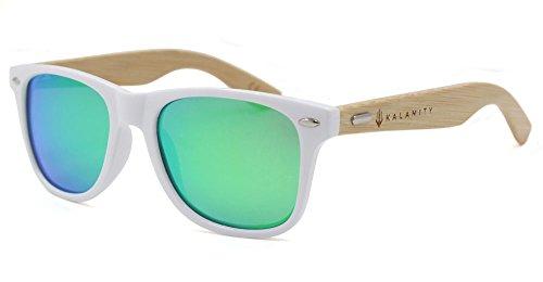 Kalamity White Frame Bamboo Arm Polarized Green REVO Mirror Lens - White Sunglasses Polarized