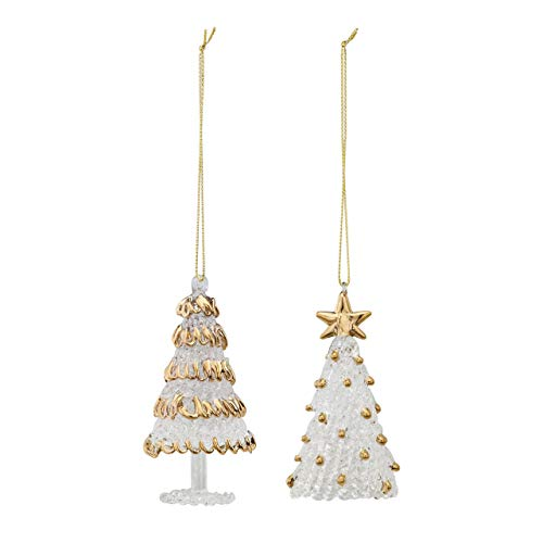 DEMDACO Christmas Tree Goldtone Trim 2 x 3.5 Inch Spun Glass Christmas Ornaments Assorted Set of 2 (Tree Ornament Spun Glass)