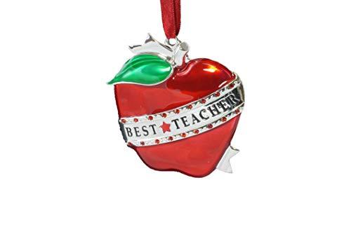 Gerson Best Teacher Apple Silver Plated Hanging Ornament