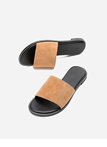 Tacones Moda Color Sandalias De Tacón Zapatillas Sólido Ocasionales albaricoque Planas Bajo Punta Mujer Dulces Altos Dhg 39 Verano dYqwv661