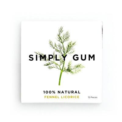 Simply Gum Fennel Licorice Natural Chewing Gum - Non GMO, Vegan, 4 Packs (60 Pieces)